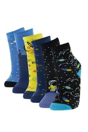 Defacto Erkek Çocuk Kutulu Desenli 6'lı Soket Çorap 1