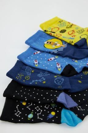 Defacto Erkek Çocuk Kutulu Desenli 6'lı Soket Çorap 2
