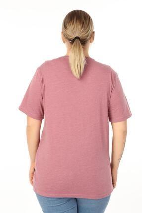 Piano Luce Kadın Pembe Büyük Beden Baskılı Yarım Kol T-shirt 2