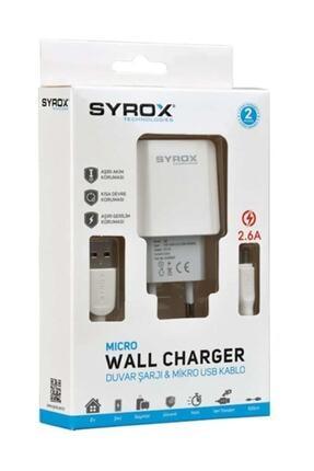 Syrox (Yeni) J47 Micro Usb Girişli 2.6 Amper Hızlı Şarj Aleti 0