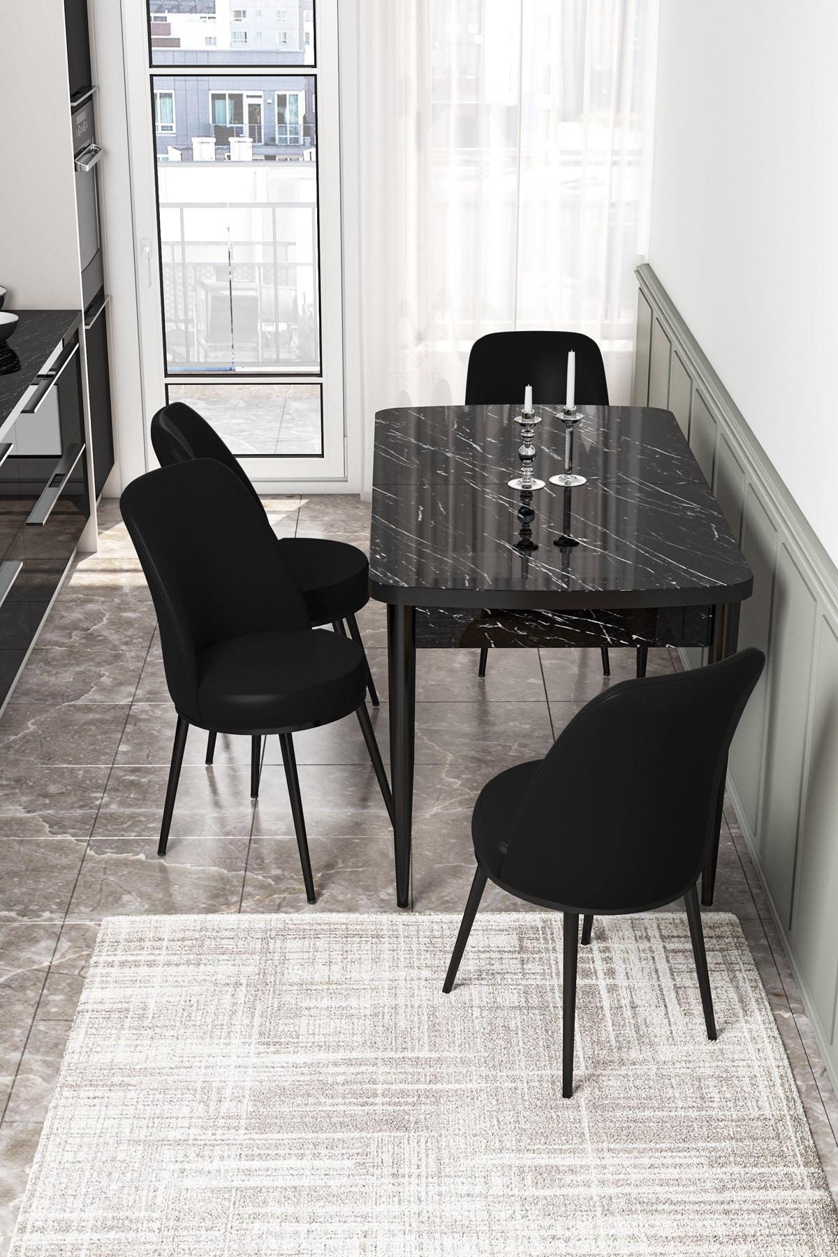 Via Açılabilir Mutfak Masası Takımı-siyah Masa+4 Adet Siyah Sandalye