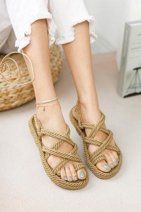 meyra'nın ayakkabıları Halat Sandalet Altın 1