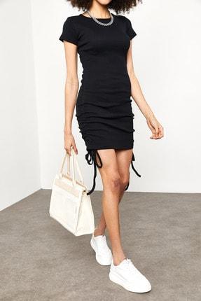 Xena Kadın Siyah Yanları Büzgülü Kaşkorse Elbise 1YZK6-11717-02 1