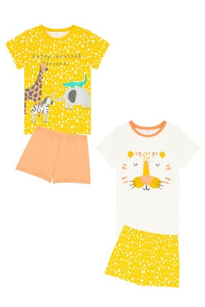Penti Çok Renkli Kız Çocuk Savannah Friends Ss 4Lu Pijama Takımı 3