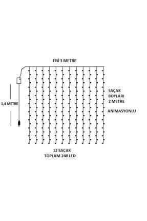 TechnoSmart 3x2 Metre Perde Led Animasyonlu 12 Saçaklı 240 Ledli Fişli Eklenebilir 8 Fonksiyonlu 2