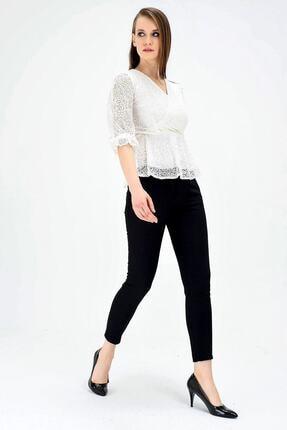 Jument Kadın Normal Bel Cepli Bilek Boy Ofis Likralı Kumaş Pantolon-siyah 3