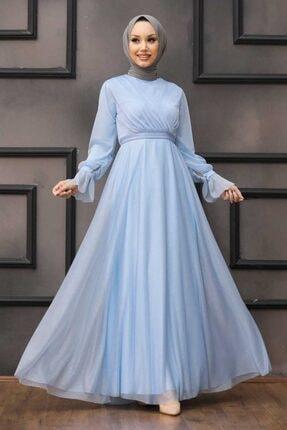 Tesettürlü Abiye Elbiseler - Bebek Mavisi Tesettür Abiye Elbise 22202bm ARM-22202