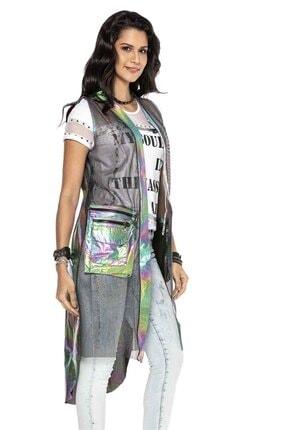 Cipo&Baxx Kadın Gümüş Renk Transparan Detaylı Uzun Yelek 2