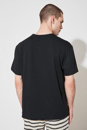 TRENDYOL MAN Siyah Erkek Geniş Kesim T-Shirt TMNSS20TS0947 4