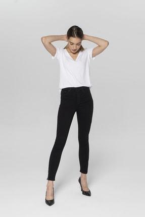 CROSS JEANS Judy Siyah Yüksek Bel Paçası Fermuarlı Skinny Fit Jean Pantolon 0