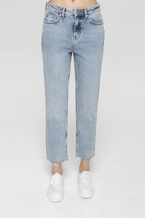 CROSS JEANS Elıza Cropped Açık Mavi Paçası Kesikli Straight Cropped Fit Jean Pantolon 1