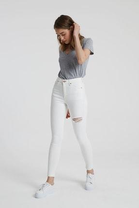 CROSS JEANS Judy Beyaz Yüksek Bel Kesikli Skinny Fit Jean Pantolon 0