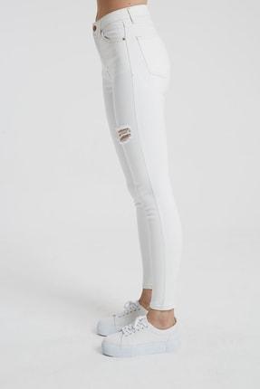 CROSS JEANS Judy Beyaz Yüksek Bel Kesikli Skinny Fit Jean Pantolon 2