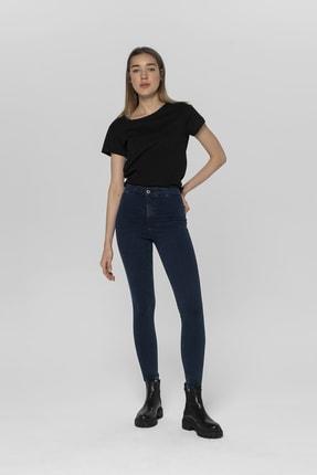 CROSS JEANS Janıe Koyu Mavi Yüksek Bel Önü Cepsiz Jegging Jean Pantolon 0
