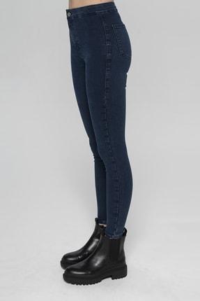 CROSS JEANS Janıe Koyu Mavi Yüksek Bel Önü Cepsiz Jegging Jean Pantolon 3