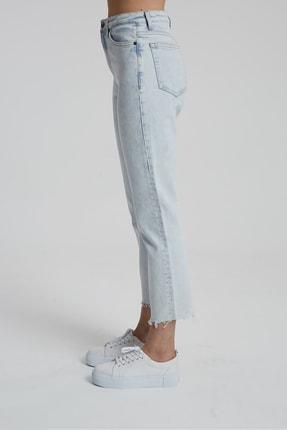 CROSS JEANS Elıza Cropped Ağartmalı Indigo Paçası Kesikli Straight Fit Jean Pantolon 2
