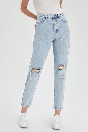 Defacto Mom Fit Yırtık Detaylı Jean Pantolon 0