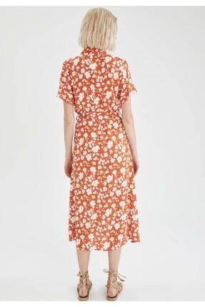 Defacto Kadın Kahve Volanlı Kol Detaylı Kuşaklı Gömlek Elbise 3