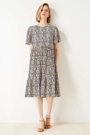 Defacto Kadın Bej Volan Detaylı Kelebek Kollu Elbise 1