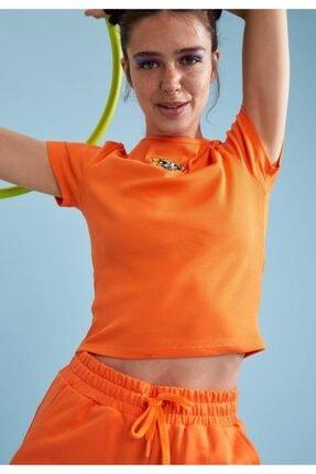 Defacto Kadın Turuncu Powerpuff Girls Lisanslı Bisiklet Yaka Crop Tişört 4