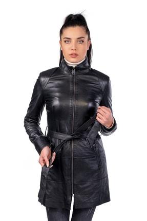 Kadın Hakiki Deri Siyah Elbise ZR542