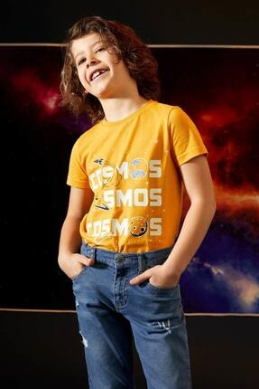 Defacto Erkek Çocuk Sarı Karanlıkta Parlayan Kısa Kol Tişört 2