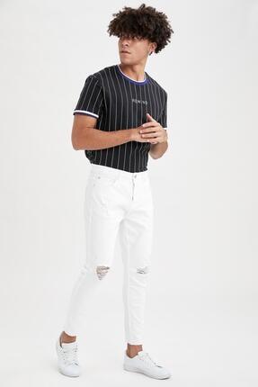 Defacto Carrot Fit Normal Bel Boru Paça Yırtık Detaylı Beyaz Jean Pantolon 1