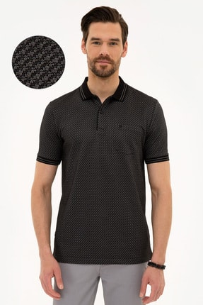 Siyah Regular Fit Polo Yaka T-Shirt resmi