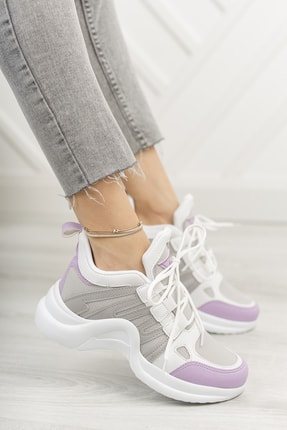 Moda Değirmeni Kadın Mor Sneaker 0