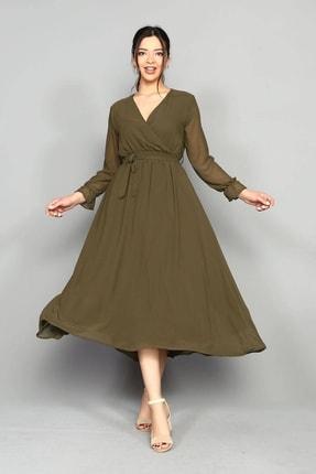 Kadın Haki Şifon Elbise GCLUAKSV2136MKSP