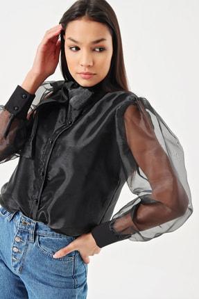 Kadın Siyah Astarlı Tül Tasarım Gömlek GCLUAKSV4010MKSP
