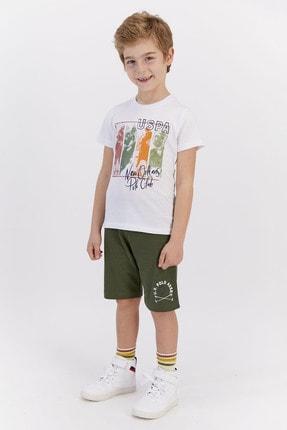 US Polo Assn Erkek Çocuk Krem Lisanslı Bermuda Takım 1