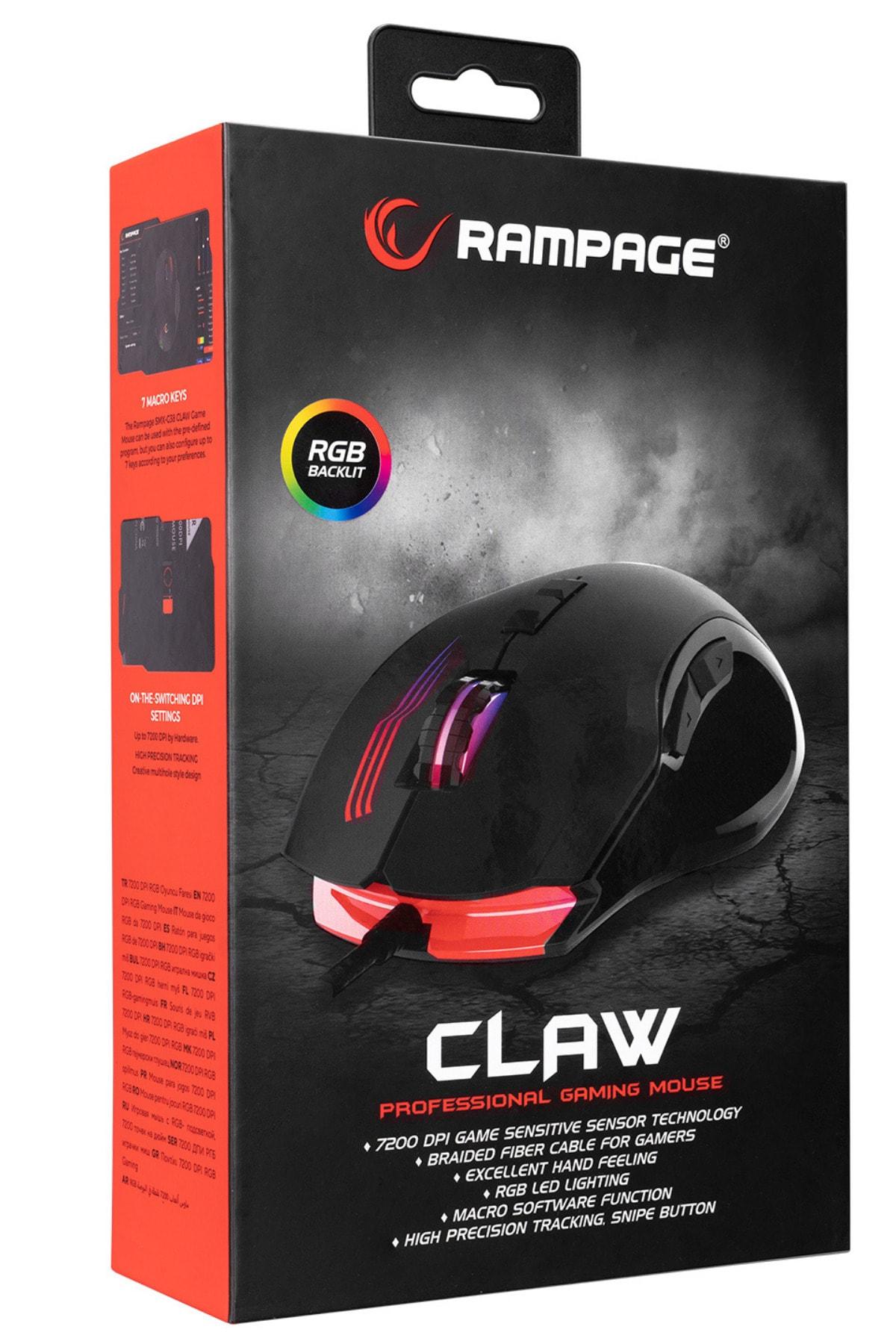 Rampage Smx-g38 Claw 7d Makro Tuşlu 7200dpi Rgb Ledli Drag Click Gaming Oyuncu Mouse