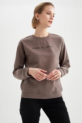 Defacto Yazı Baskılı Relax Fit Sweatshirt 0
