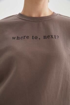 Defacto Yazı Baskılı Relax Fit Sweatshirt 2