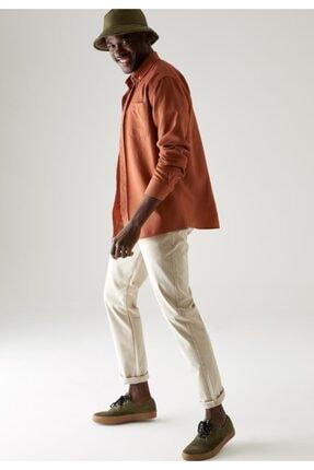 Defacto Erkek Bej Regular Fit Basic Pamuklu Chino Pantolon 3