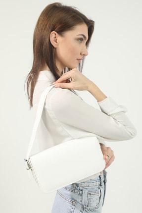 Petek Karnaval Kadın Beyaz Baguette Çanta 1
