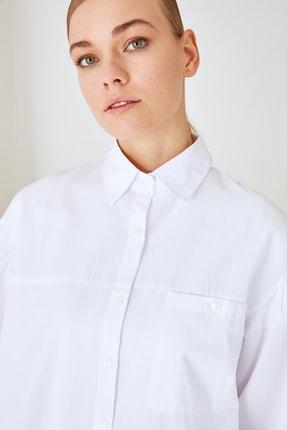 Trendyol Modest Beyaz Gömlek Yaka Tunik TCTSS21GO0976 4