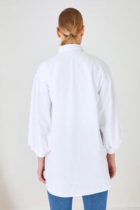 Trendyol Modest Beyaz Gömlek Yaka Tunik TCTSS21GO0976 3