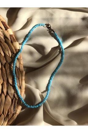 Handcraft Design Kadın Mavi Renk Boncuk Kolye 0
