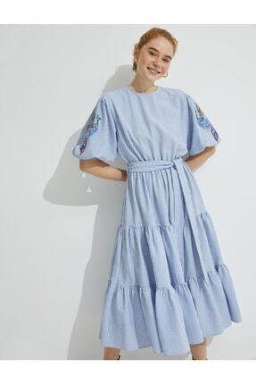 Koton Kadın  El Emegi İslemeli Çizgili Balon Kollu Elbise 1