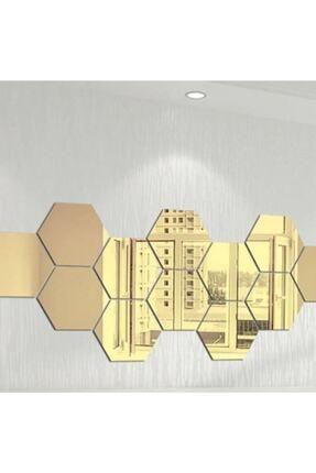 FERMAN HEDİYELİK Bal Peteği Gold Dekoratif Altıgen 12x Süs Akrilik Ayna 11x12,5cm Antre Duvar Pleksi Yapışkan Bantlı 0