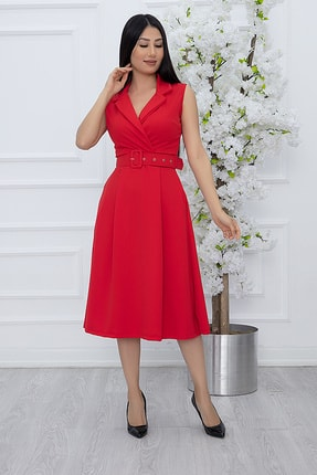 PULLIMM Kadın Kırmızı Klasik Yaka Kolsuz Elbise 2508 1