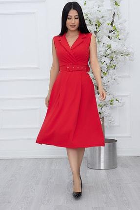 PULLIMM Kadın Kırmızı Klasik Yaka Kolsuz Elbise 2508 2
