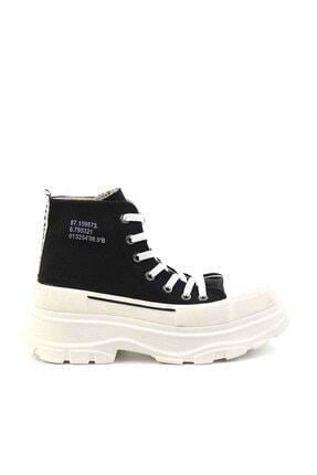 Bambi Siyah Beyaz Kadın Sneaker K01530120018 1