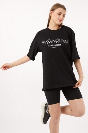 Kadın Siyah Yves Saint Laurent T-shirt 112113.188-California
