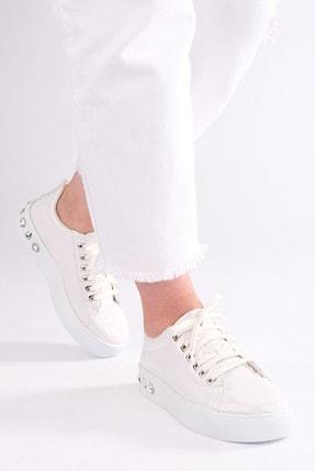 Marjin Kadın Kalın Taban Sneaker Spor Ayakkabı Aportebeyaz 1
