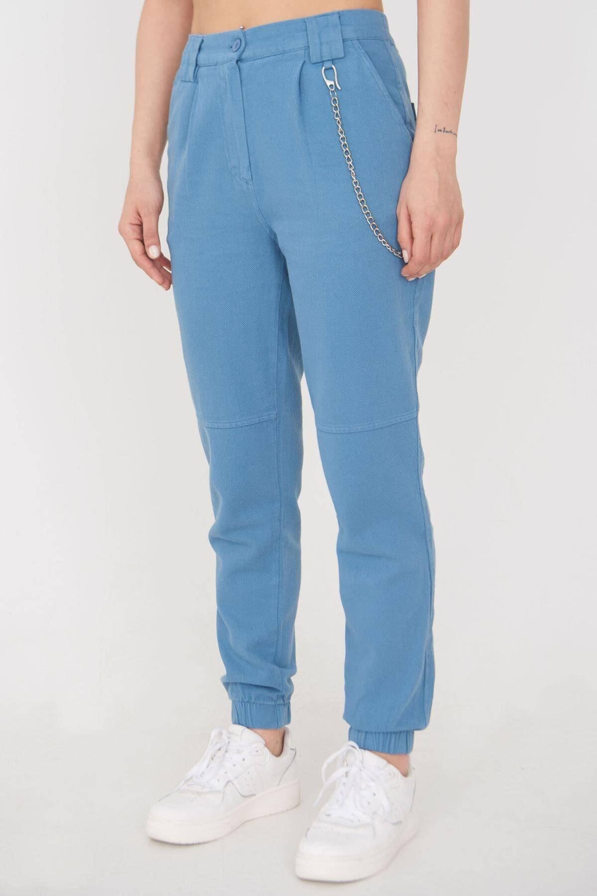 Addax Kadın Mavi Zincir Detaylı Pantolon Pn01-0073 - S11 Adx-0000024102 0