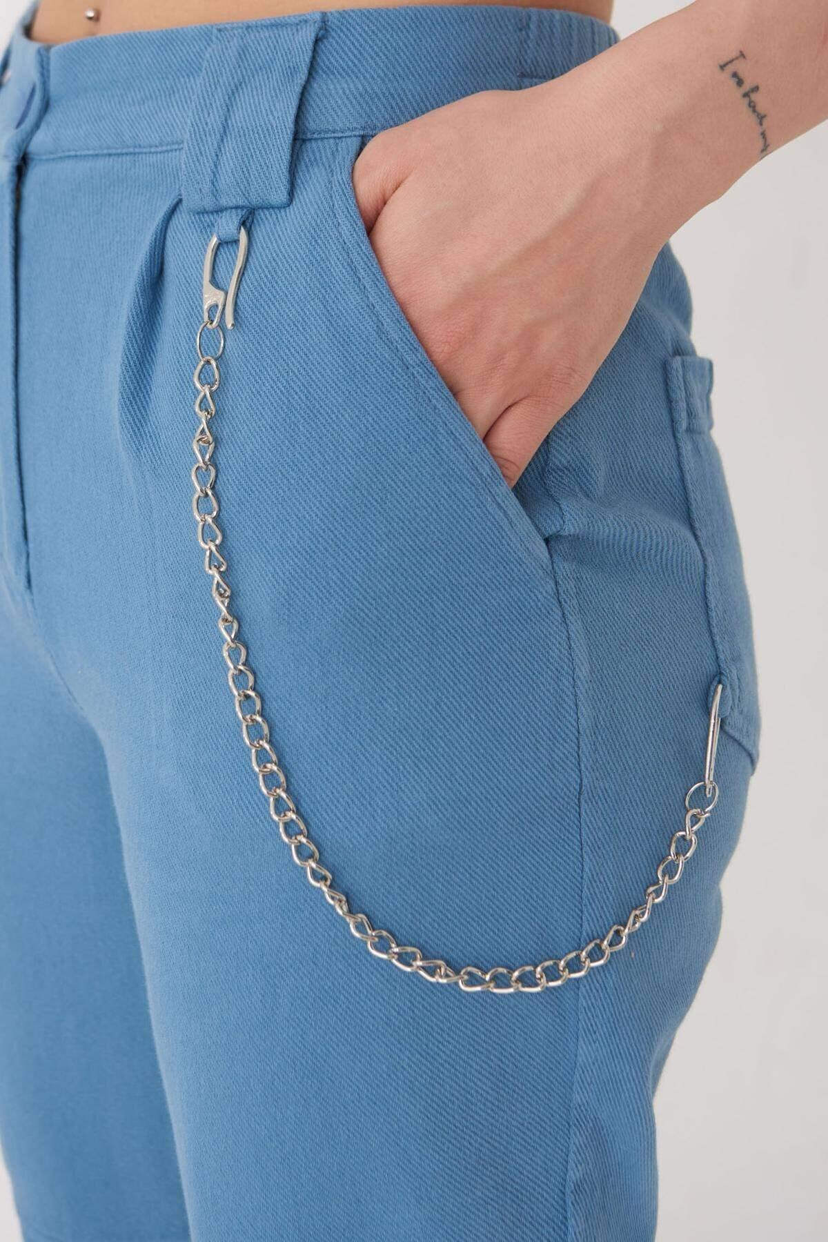Addax Kadın Mavi Zincir Detaylı Pantolon Pn01-0073 - S11 Adx-0000024102 3
