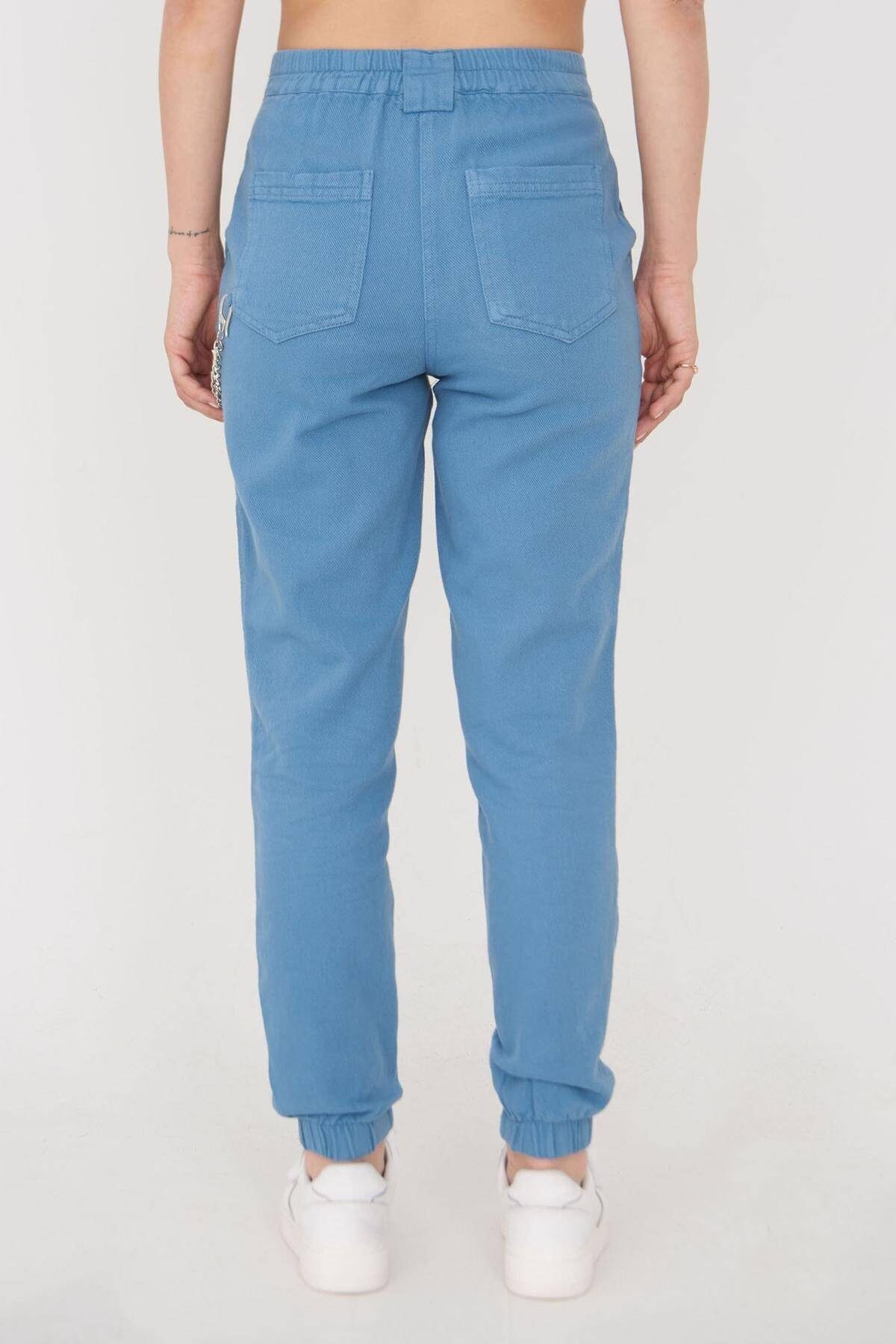 Addax Kadın Mavi Zincir Detaylı Pantolon Pn01-0073 - S11 Adx-0000024102 4